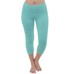 Tiffany Aqua Blue Puffy Quilted Pattern Capri Winter Leggings  by PodArtist
