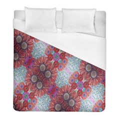 Floral Flower Wallpaper Created From Coloring Book Colorful Background Duvet Cover (full/ Double Size)