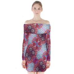 Floral Flower Wallpaper Created From Coloring Book Colorful Background Long Sleeve Off Shoulder Dress by Simbadda