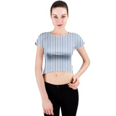 Mattress Ticking Narrow Striped Pattern in Dark Blue and White Crew Neck Crop Top by PodArtist
