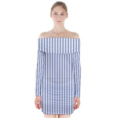 Mattress Ticking Narrow Striped Pattern in Dark Blue and White Long Sleeve Off Shoulder Dress by PodArtist