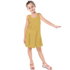 Designer Fall 2016 Color Trends-Spicy Mustard Yellow Kids  Sleeveless Dress by PodArtist