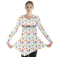 Decorative Spring Flower Pattern Long Sleeve Tunic  by TastefulDesigns