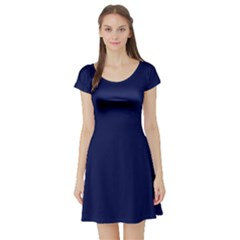 Classic Navy Blue Solid Color Short Sleeve Skater Dress by PodArtist