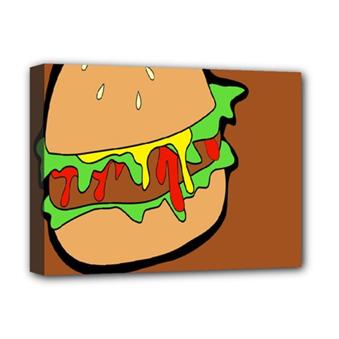 Burger Double Deluxe Canvas 16  X 12   by Simbadda