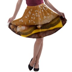 Cheeseburger On Sesame Seed Bun A Line Skater Skirt by Simbadda