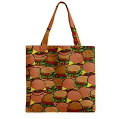 Burger Double Border Zipper Grocery Tote Bag by Simbadda