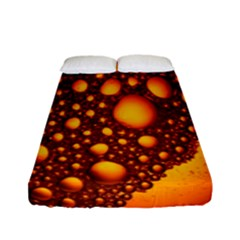 Bubbles Abstract Art Gold Golden Fitted Sheet (full/ Double Size) by Simbadda