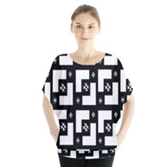 Abstract Pattern Background  Wallpaper In Black And White Shapes, Lines And Swirls Blouse by Simbadda