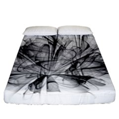 High Detailed Resembling A Flower Fractalblack Flower Fitted Sheet (king Size) by Simbadda
