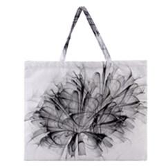 High Detailed Resembling A Flower Fractalblack Flower Zipper Large Tote Bag by Simbadda