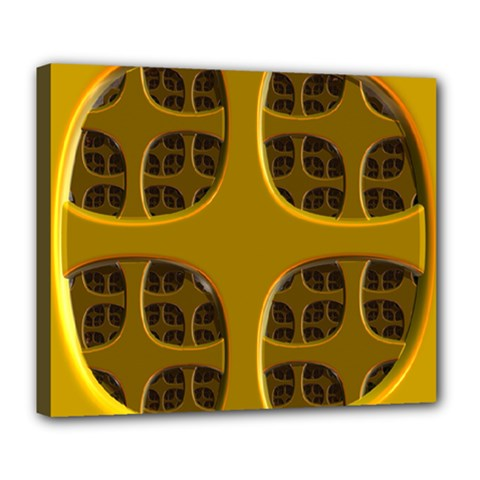 Golden Fractal Window Deluxe Canvas 24  X 20   by Simbadda