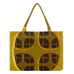 Golden Fractal Window Medium Tote Bag by Simbadda
