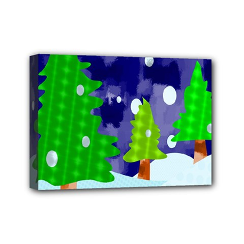 Christmas Trees And Snowy Landscape Mini Canvas 7  X 5  by Simbadda