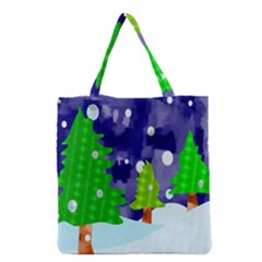 Christmas Trees And Snowy Landscape Grocery Tote Bag by Simbadda