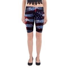 Grunge American Flag Background Yoga Cropped Leggings by Simbadda