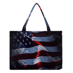 Grunge American Flag Background Medium Tote Bag by Simbadda