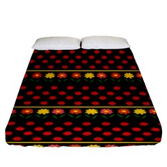 Ladybugs And Flowers Fitted Sheet (king Size) by Valentinaart