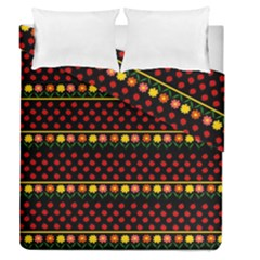 Ladybugs And Flowers Duvet Cover Double Side (queen Size) by Valentinaart