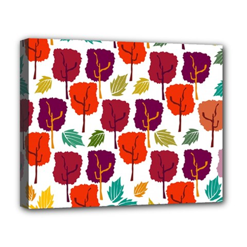 Colorful Trees Background Pattern Deluxe Canvas 20  X 16   by Simbadda