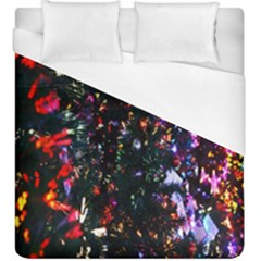 Lit Christmas Trees Prelit Creating A Colorful Pattern Duvet Cover (king Size) by Simbadda