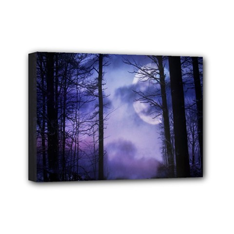 Moonlit A Forest At Night With A Full Moon Mini Canvas 7  X 5