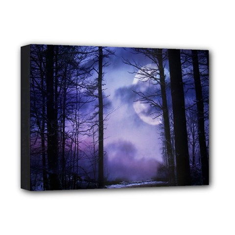 Moonlit A Forest At Night With A Full Moon Deluxe Canvas 16  X 12   by Simbadda