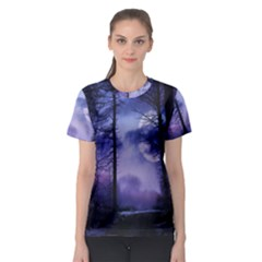Moonlit A Forest At Night With A Full Moon Women s Sport Mesh Tee by Simbadda