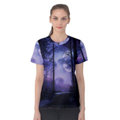 Moonlit A Forest At Night With A Full Moon Women s Cotton Tee by Simbadda