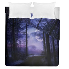 Moonlit A Forest At Night With A Full Moon Duvet Cover Double Side (queen Size) by Simbadda
