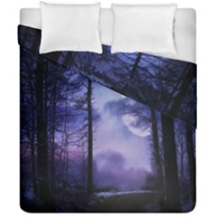 Moonlit A Forest At Night With A Full Moon Duvet Cover Double Side (california King Size) by Simbadda