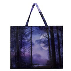 Moonlit A Forest At Night With A Full Moon Zipper Large Tote Bag