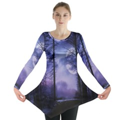 Moonlit A Forest At Night With A Full Moon Long Sleeve Tunic  by Simbadda