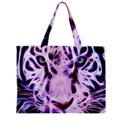 Fractal Wire White Tiger Zipper Mini Tote Bag by Simbadda