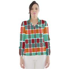 Bricks Abstract Seamless Pattern Wind Breaker (women) by Simbadda