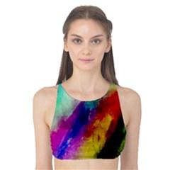 Colorful Abstract Paint Splats Background Tank Bikini Top by Simbadda