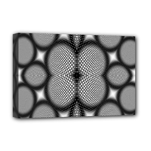 Mirror Of Black And White Fractal Texture Deluxe Canvas 18  X 12   by Simbadda