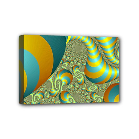 Gold Blue Fractal Worms Background Mini Canvas 6  X 4  by Simbadda