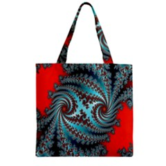 Digital Fractal Pattern Zipper Grocery Tote Bag