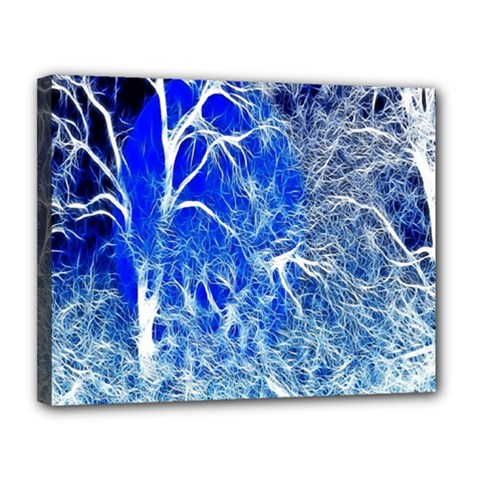 Winter Blue Moon Fractal Forest Background Canvas 14  X 11  by Simbadda