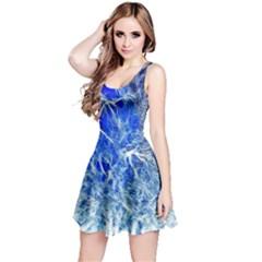 Winter Blue Moon Fractal Forest Background Reversible Sleeveless Dress