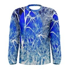 Winter Blue Moon Fractal Forest Background Men s Long Sleeve Tee by Simbadda