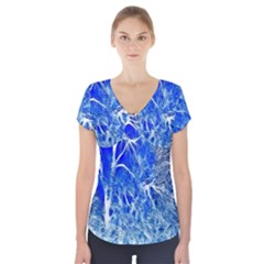 Winter Blue Moon Fractal Forest Background Short Sleeve Front Detail Top by Simbadda