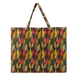Colorful Leaves Yellow Red Green Grey Rainbow Leaf Zipper Large Tote Bag by Alisyart