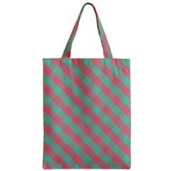 Cross Pink Green Gingham Digital Paper Zipper Classic Tote Bag by Alisyart