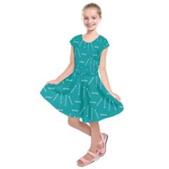 Digital Art Minimalism Abstract Candles Blue Background Fire Kids  Short Sleeve Dress by Simbadda