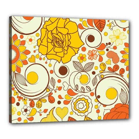 Cute Fall Flower Rose Leaf Star Sunflower Orange Canvas 24  X 20  by Alisyart