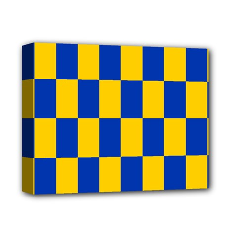 Flag Plaid Blue Yellow Deluxe Canvas 14  X 11  by Alisyart