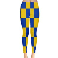 Flag Plaid Blue Yellow Leggings  by Alisyart