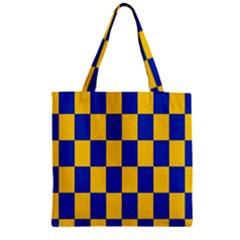 Flag Plaid Blue Yellow Zipper Grocery Tote Bag by Alisyart